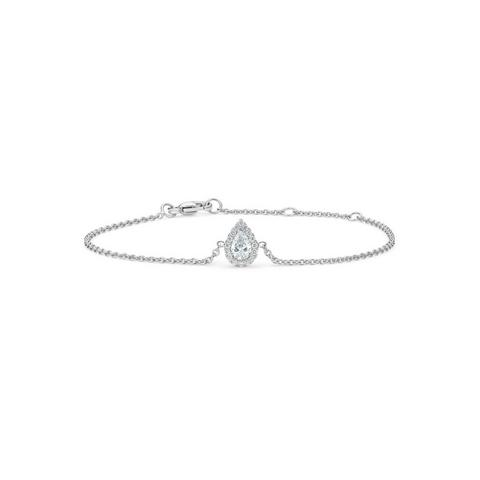 Aura pear-shaped diamond bracelet in white gold 18 cm