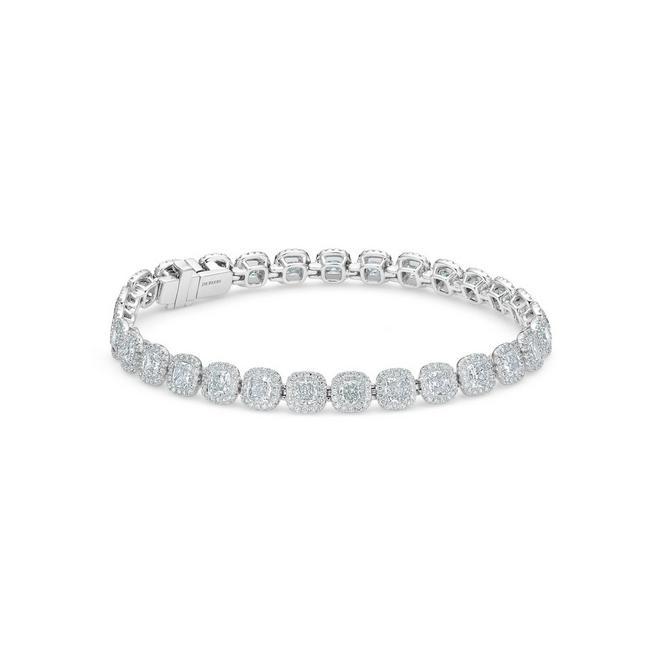 Aura 高級珠寶白金枕形鑽石手鍊