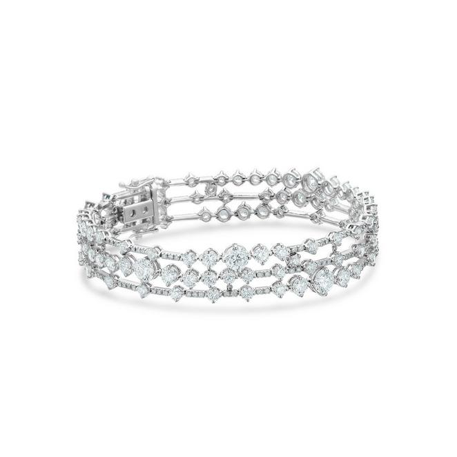 Arpeggia three line bracelet in white gold