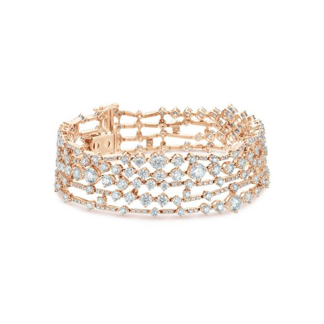 Bracelet Arpeggia cinq rangs en or rose