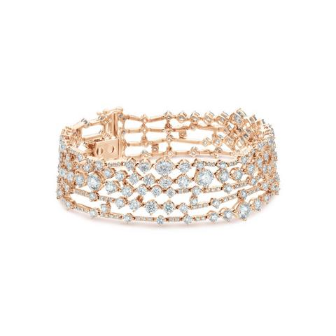 Arpeggia five line bracelet in rose gold 18 cm