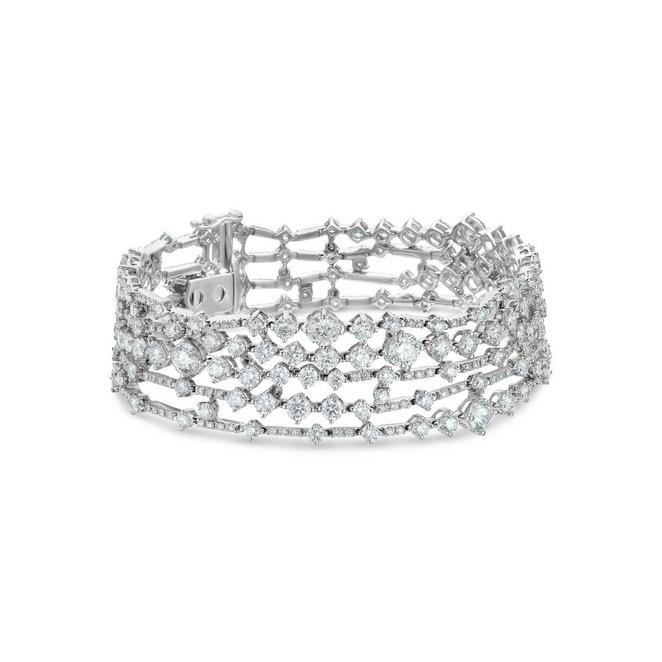 Arpeggia five line bracelet in white gold