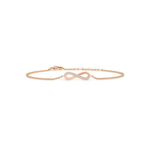 Infinity bracelet in rose gold 18 cm