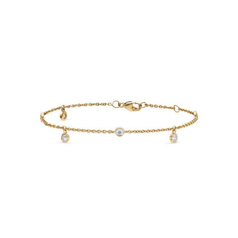Clea five diamond bracelet in yellow gold 18 cm
