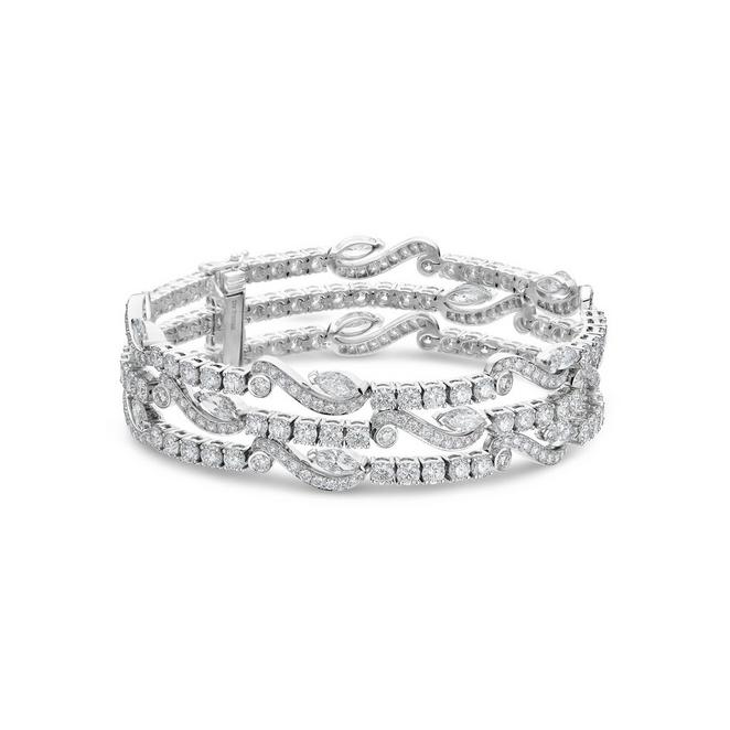 Adonis Rose three line bracelet in white gold