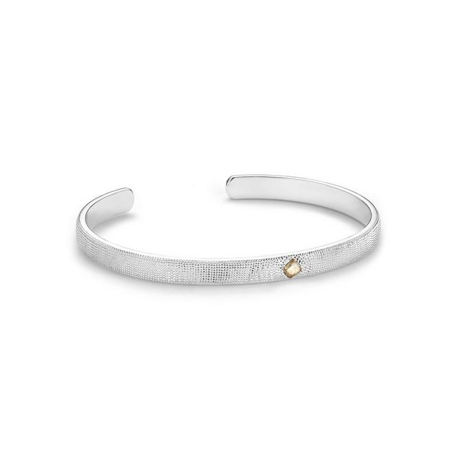 Talisman open bangle in white gold