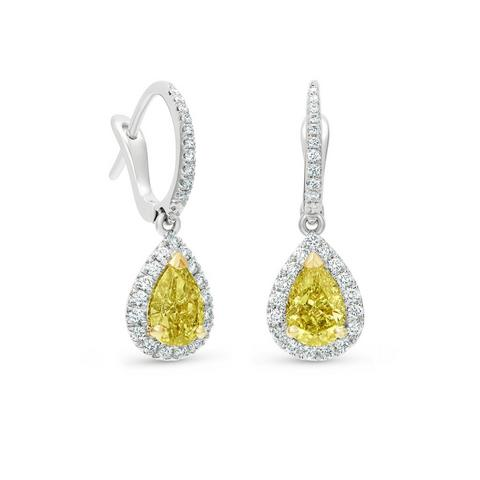 Aura fancy yellow pear-shaped diamond sleepers