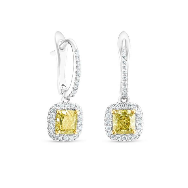 Aura fancy yellow cushion-cut diamond sleepers