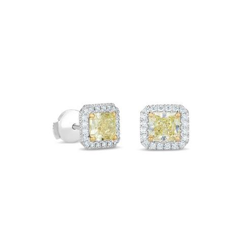 Aura fancy yellow radiant-cut diamond studs