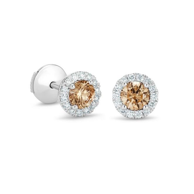 Aura fancy brown round brilliant diamond studs 0.2ct