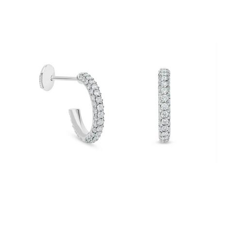 DB Classic three row hoop earrings in white gold