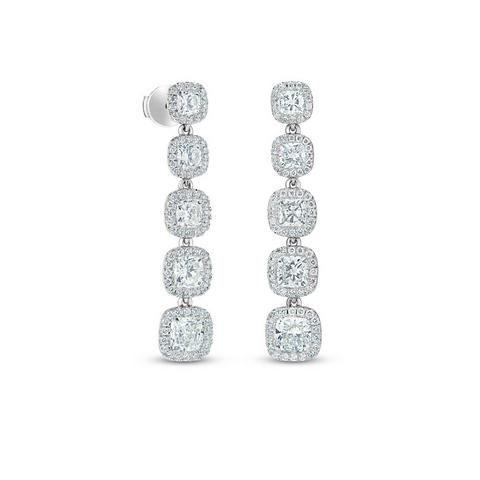 Aura five cushion-cut diamond earrings