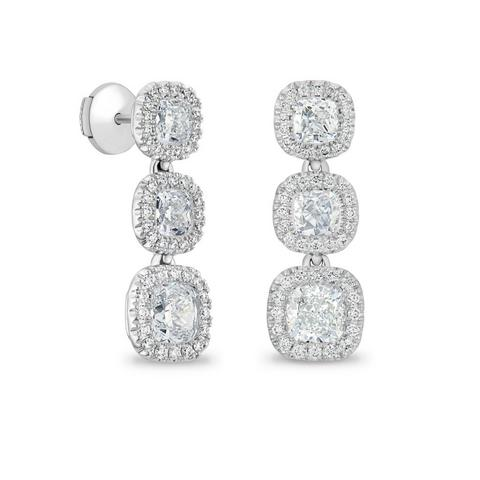 Aura three cushion-cut diamond earrings