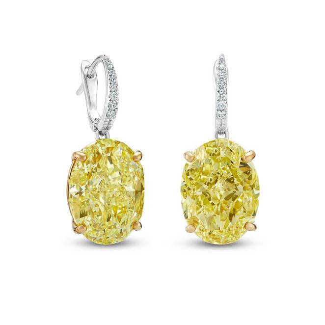Boucles d'oreilles DB Classic diamants jaunes fancy intense taille ovale