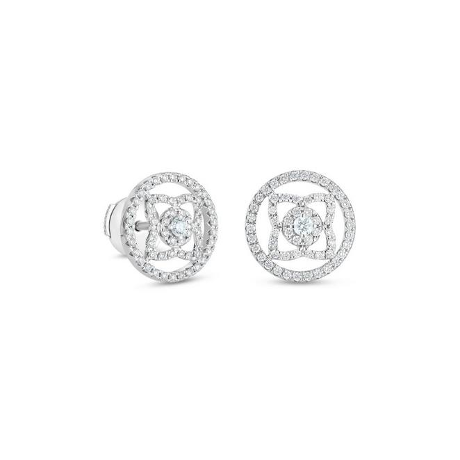 Enchanted Lotus medal earrings in white gold