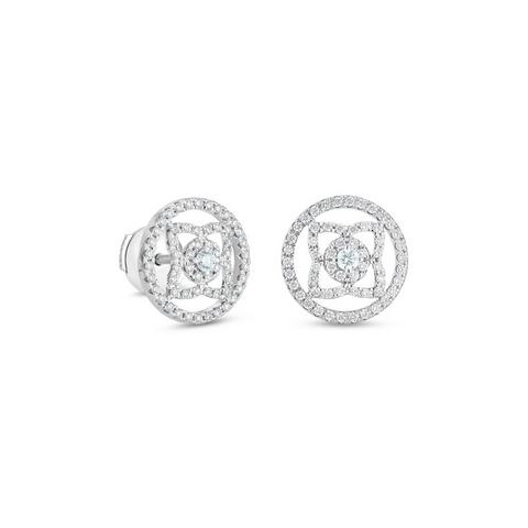 Puces d'oreilles Enchanted Lotus medal en or blanc