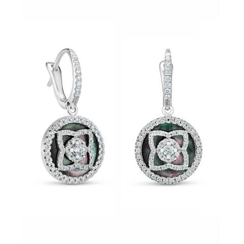 Enchanted Lotus sleepers in white gold and mother-of-pearl