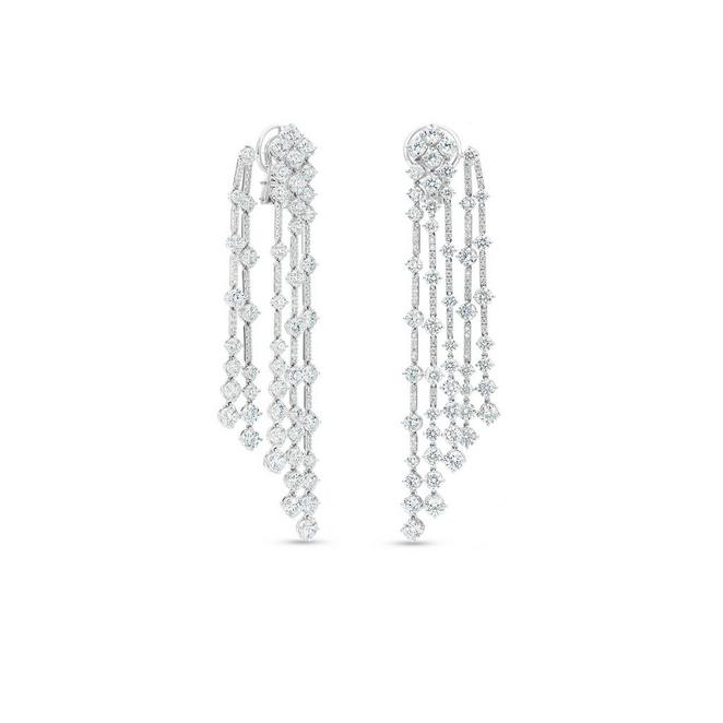 Arpeggia five line earrings in white gold