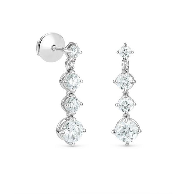 Arpeggia one line small earrings in white gold