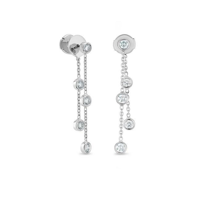 Boucles d'Oreilles Clea cinq diamants en or blanc