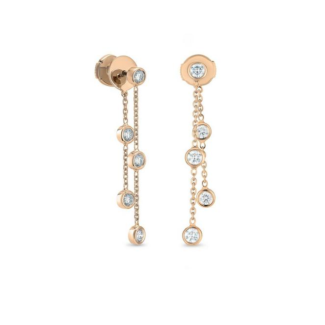 Boucles d'oreilles Clea cinq diamants en or rose