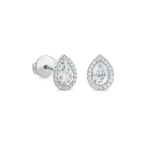 Aura 白金梨形鑽石耳環