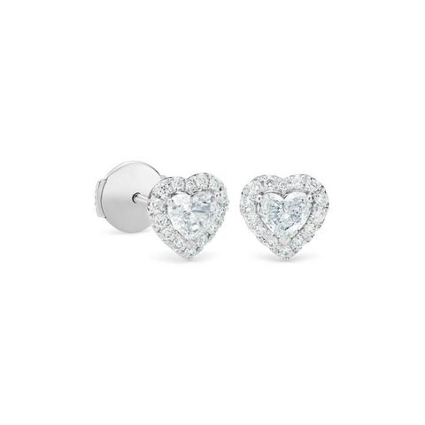 Aura heart-shaped diamond earrings in white gold