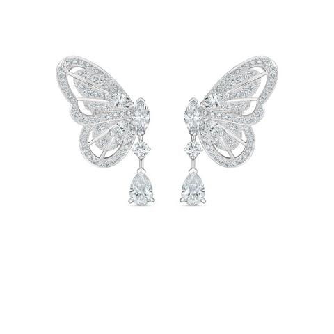 Butterfly earrings in white gold