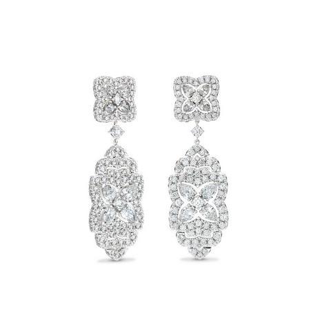 Enchanted Lotus Drop Earrings in white gold