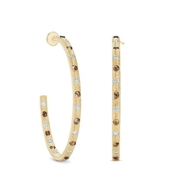 Talisman hoop earrings in yellow gold