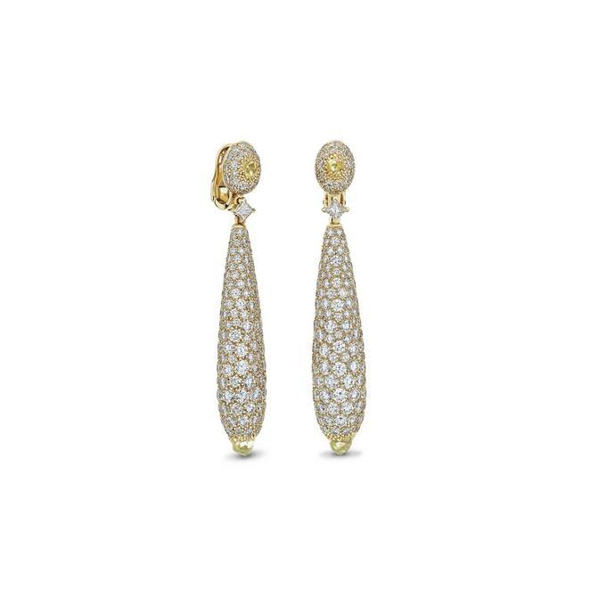 Talisman cocktail earrings in yellow gold