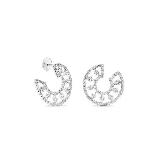 Dewdrop hoop earrings in white gold