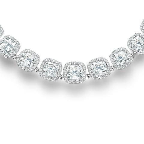 Aura cushion-cut diamond necklace