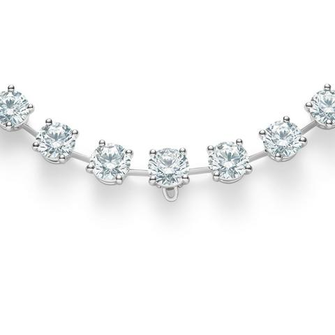 Drops of Light round brilliant diamonds necklace 42 cm