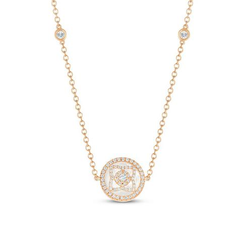 Enchanted Lotus necklace in rose gold and mother-of-pearl 90 cm
