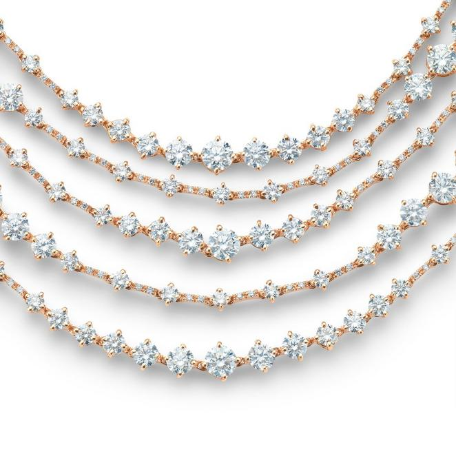 Arpeggia five line necklace in rose gold