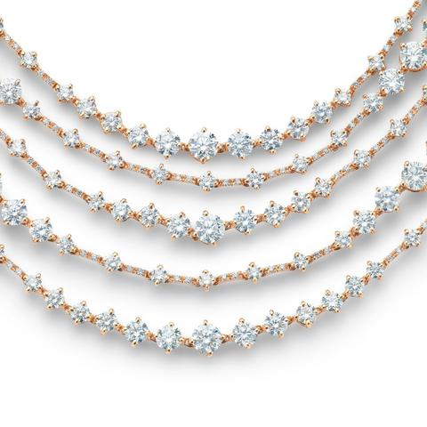 Arpeggia five line necklace in rose gold 42 cm