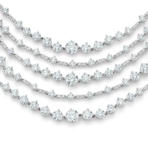 Arpeggia five line necklace in white gold