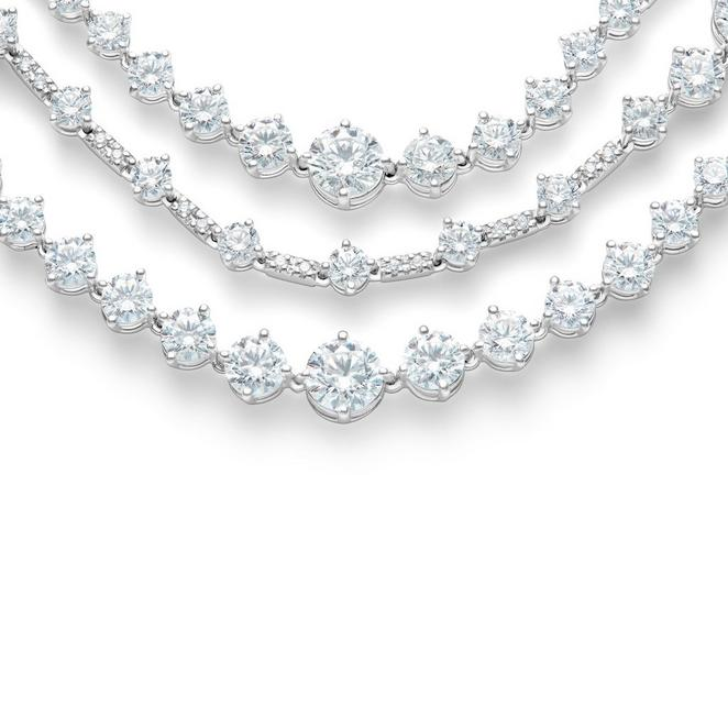 Arpeggia three line necklace in white gold