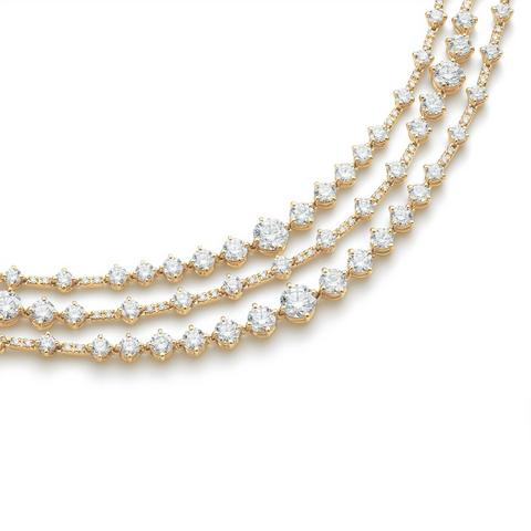 Arpeggia three line necklace in yellow gold