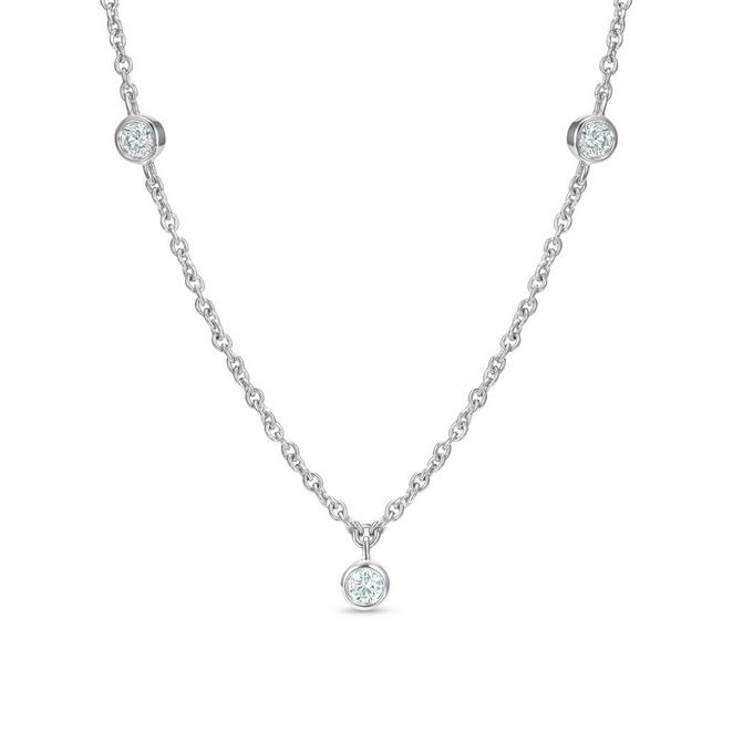 Clea five diamond necklace in white gold