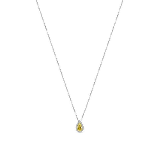 Aura fancy yellow pear-shaped diamond pendant