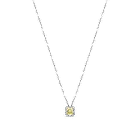 Aura fancy yellow radiant-cut diamond pendant