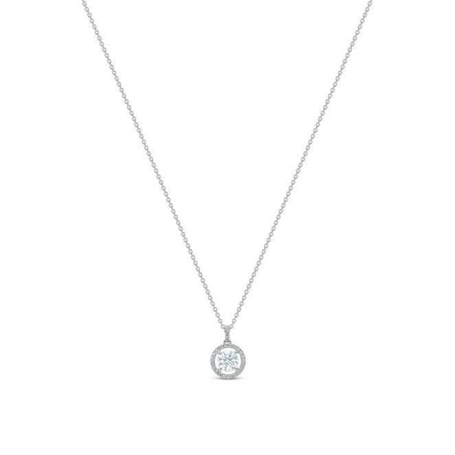 Aura 白金圓形鑽石吊墜項鍊