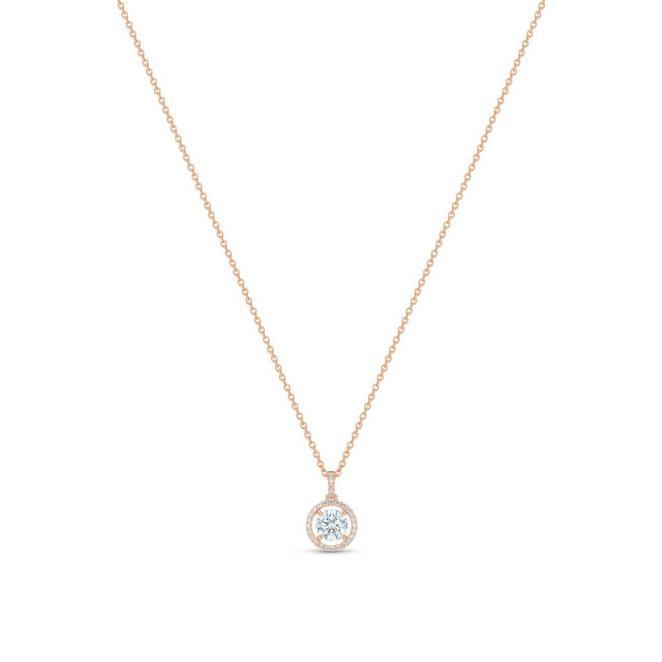 Aura 玫瑰金圓形鑽石吊墜項鍊
