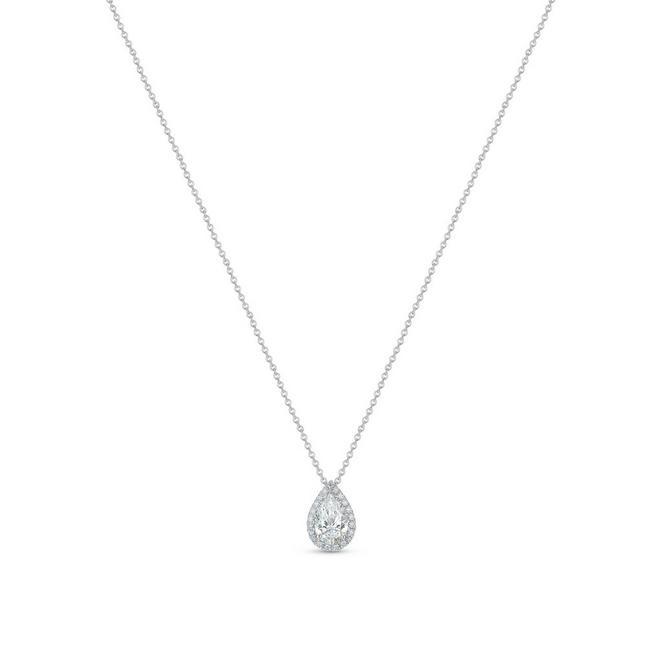 Aura 白金梨形鑽石吊墜項鍊