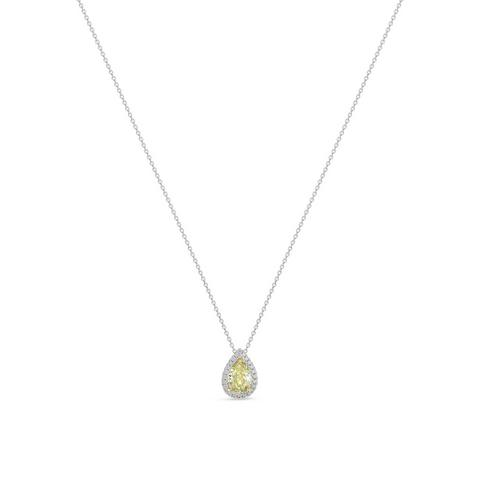 Aura fancy greenish yellow pear-shaped diamond pendant