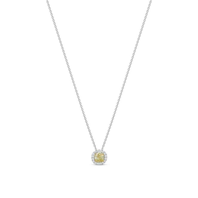 Aura fancy colour cushion-cut diamond pendant