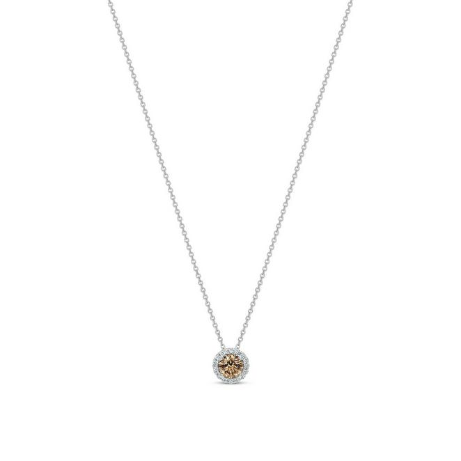 Aura fancy brown round brilliant diamond pendant 0.3ct