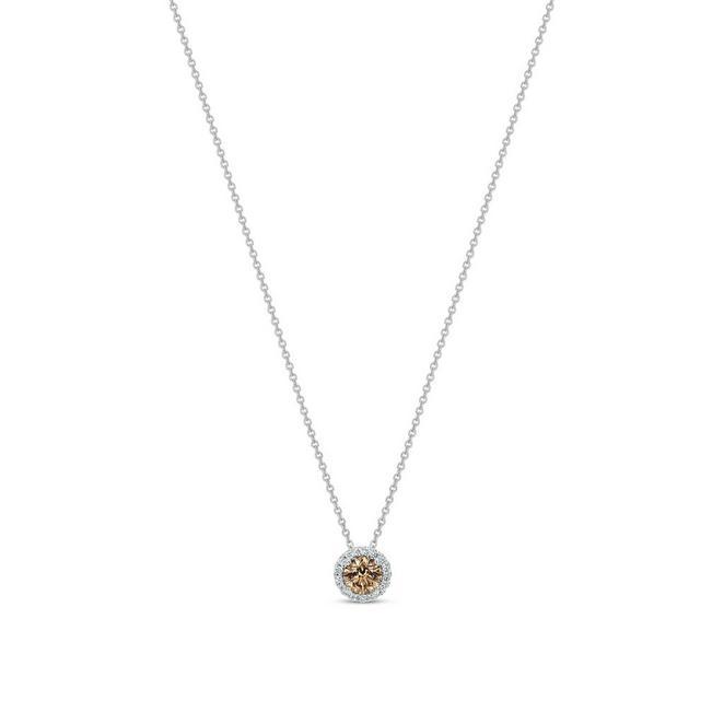 Aura白金圓形褐色彩鑽吊墜項鍊
